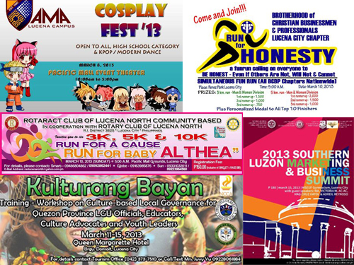 Events for the month of March in Lucena City